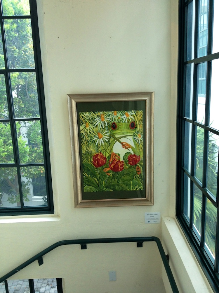"Watercolor ""Frog Days of Summer""  by Pam Eden on exhibit in the Gato Stairway Gallery"