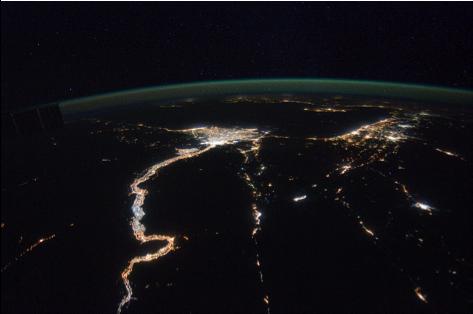 NASA Satellite image of Nile River Valley at night