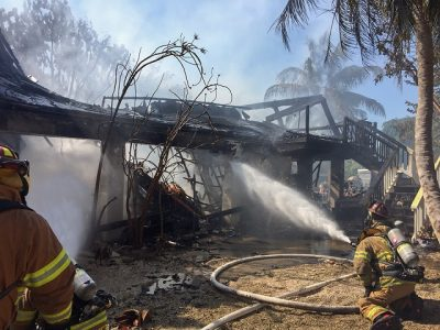 Monroe County Fire Rescue Respond to House Fire in Lower Keys