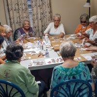 Bayshore Manor Residents Decorate Meal Bags for Food Pantry