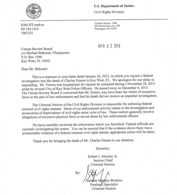 DOJ eimers case letter from