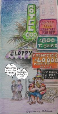 Cartoon by Arnaud Girard: Downtown Key West