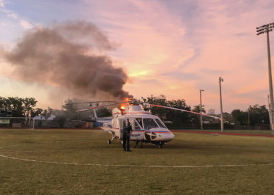 MONROE COUNTY'S OLDEST TRAUMA STAR HELICOPTER CAUGHT FIRE ON LANDING