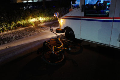 Bicyclist Hit By Mail Truck