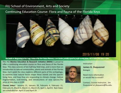 Flora and Fauna of the Florida Keys Course Enrollment