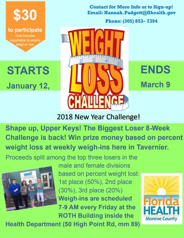 Biggest loser returns to the upper keys key west the for Weight loss challenge flyer template