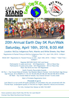 EARTH DAY 5K RUN/WALK to Benefit Last Stand, April 16th