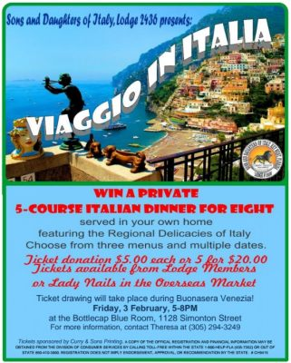 """""""Viaggio in Italia"""" Dinner-for-Eight Chance Drawing"""